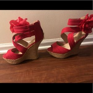 JustFab Shoes - Size 7.5 red wedges